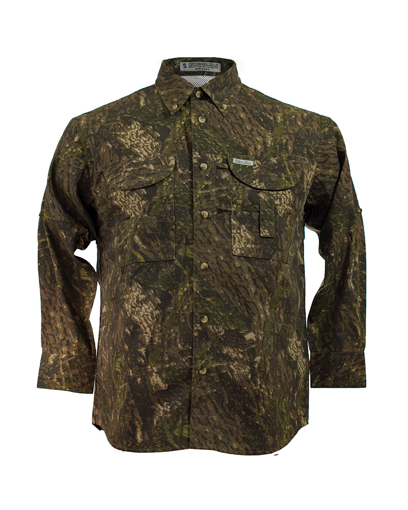 Fishing shirts men 39 s camo fishing shirt fh outfitters for Camo fishing shirt