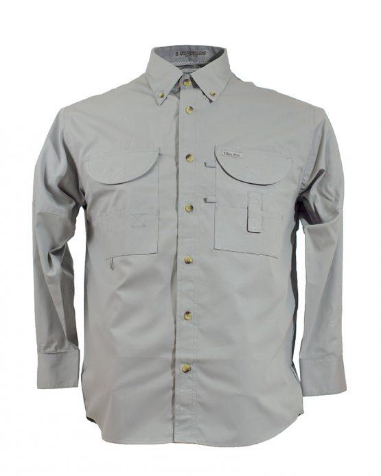 Men's Fishing Shirts, Long Sleeve Fishing Shirt, Grey Fishing Shirt, Tiger Hill Fishing Shirt