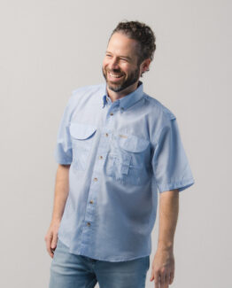 Men's Blue Gingham Fishing Shirt