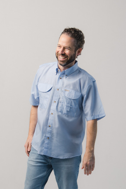 Men's Blue Gingham Fishing Shirt