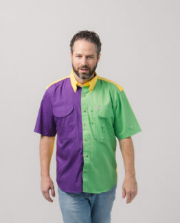 Men's Short Sleeve Mardi Gras Fishing Shirt