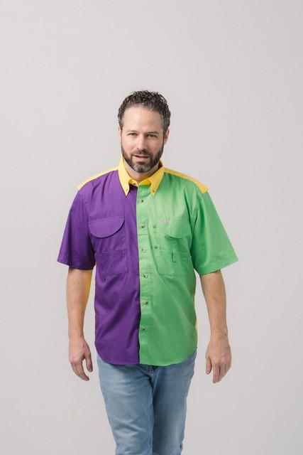 Men's Short Sleeve Mardi Gras Fishing Shirt
