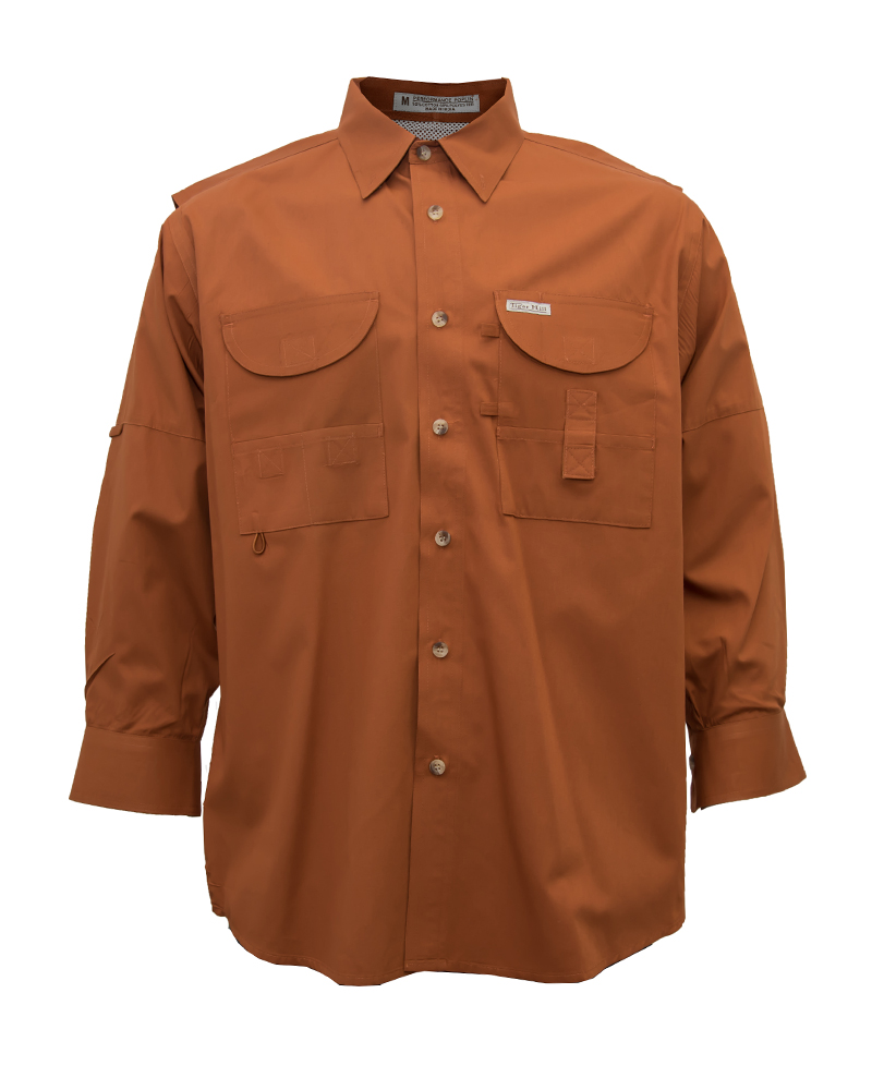 Fishing shirts men 39 s burnt orange fishing shirt fh for Mens fishing shirts