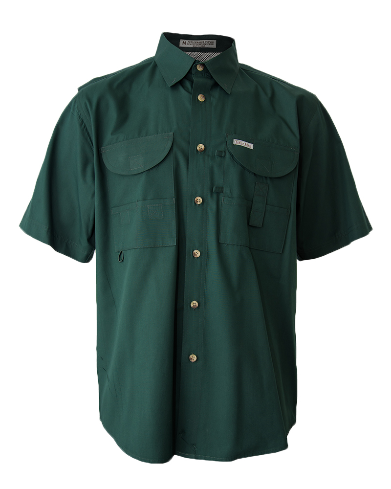 Fishing shirts men 39 s forest green fishing shirt fh for Green top hunting and fishing