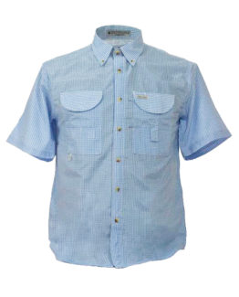 Men's Fishing Shirt, Gingham Fishing Shirt, Blue Gingham