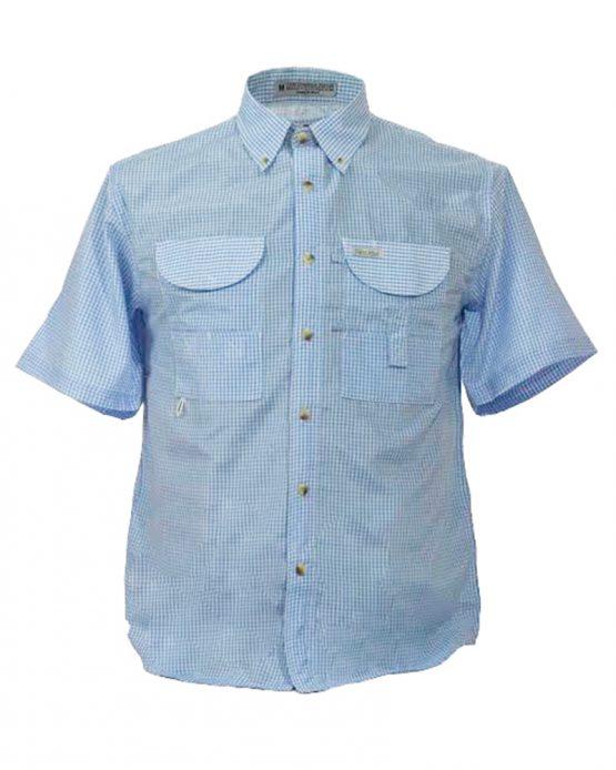 Men's Fishing Shirt, Gingham Fishing Shirt, Blue Gingham