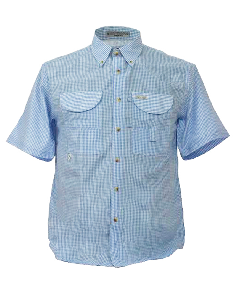 Fishing shirts men 39 s blue gingham fishing shirt fh for Mens fishing shirts