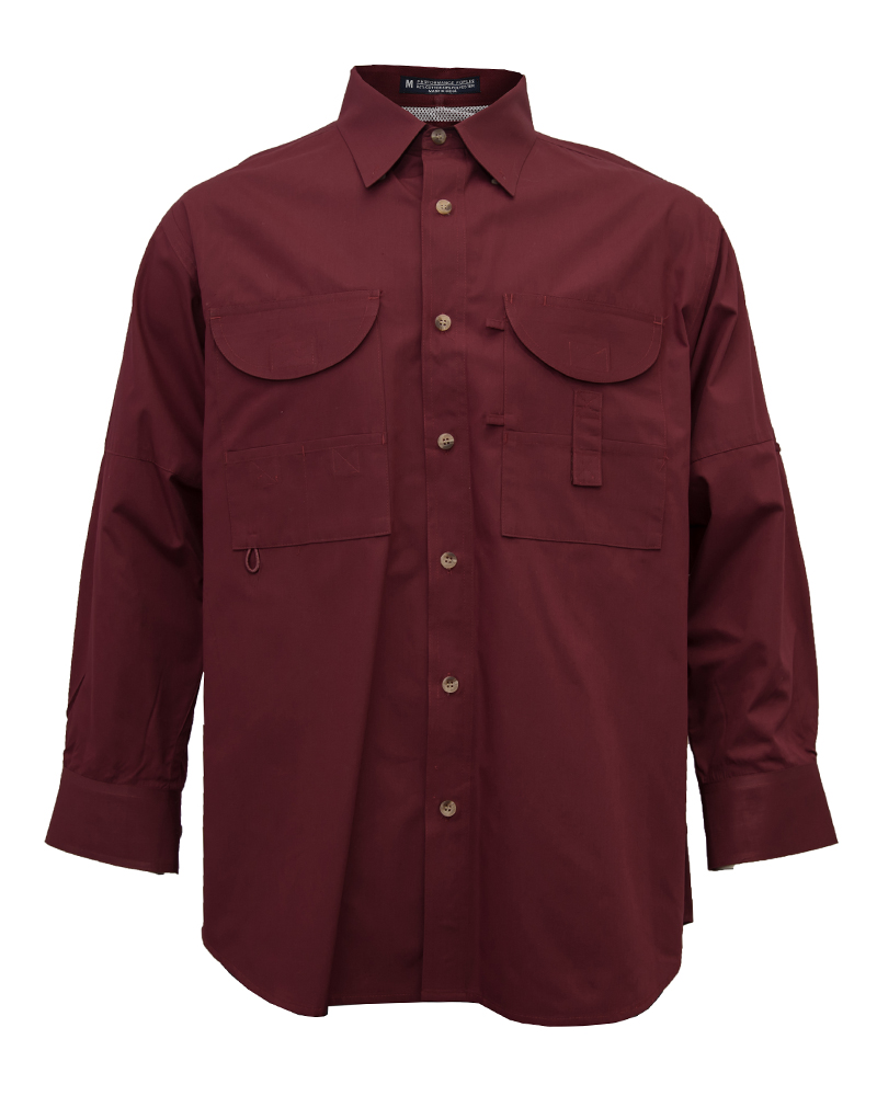 Fishing shirts men 39 s maroon fishing shirt fh outfitters for Mens fishing shirts