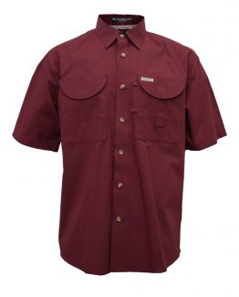 Men's Fishing Shirts, Maroon fishing shirt, Short Sleeve Fishing Shirt, Tiger Hill fishing shirt