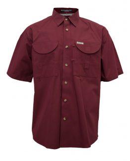 Men's Fishing Shirts, Maroon fishing shirt, Short Sleeve Fishing Shirt, Tiger Hill fishing shirt