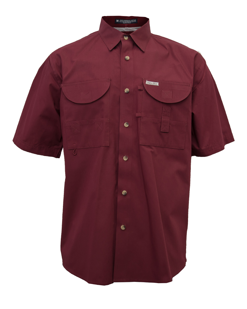 Men 39 s fishing maroon ss fh outfitters for Two fish apparel
