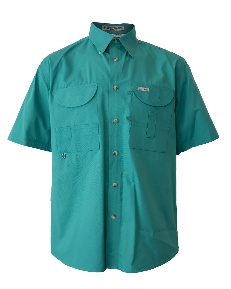 Fishing shirts men 39 s teal fishing shirt fh outfitters for Mens fishing shirts