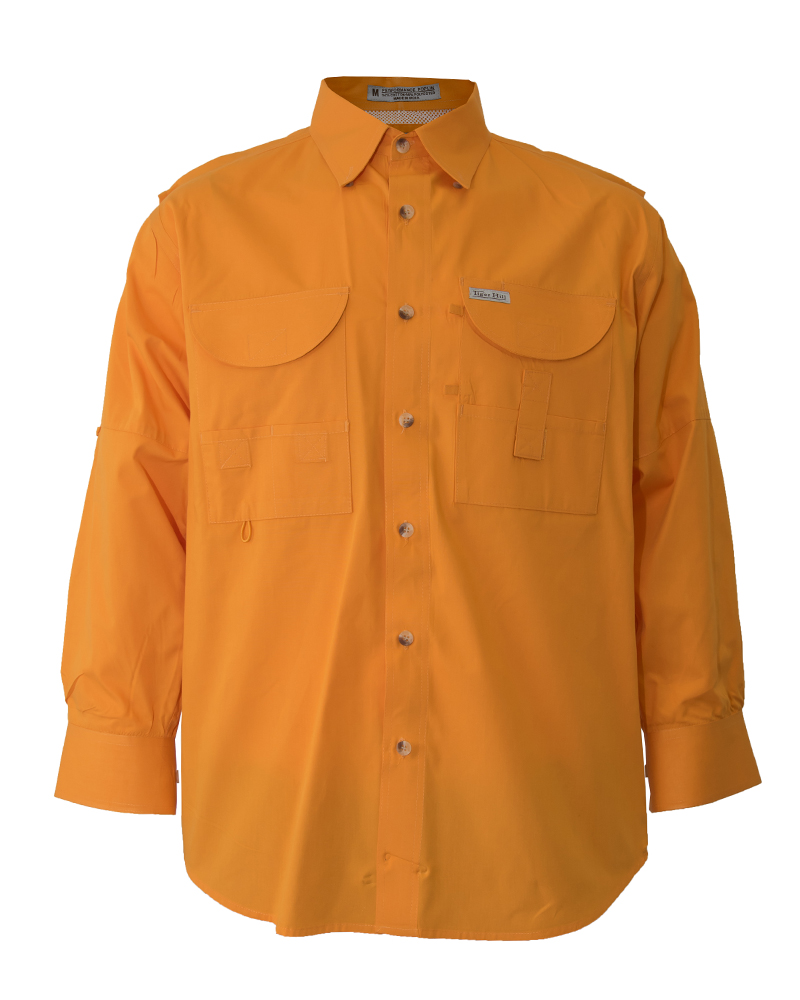 Fishing shirts men 39 s orange fishing shirt fh outfitters for Mens fishing shirts