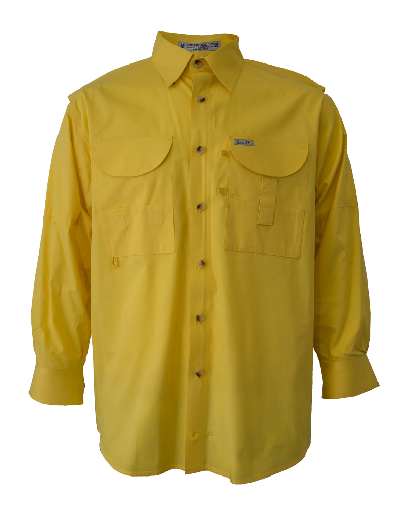 Fishing shirts men 39 s yellow fishing shirt fh outfitters for Mens fishing shirts