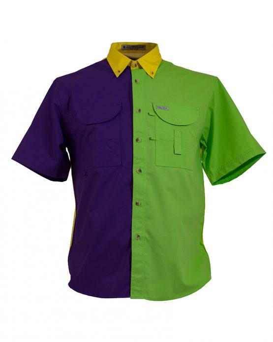 Tiger Hill, Men's Fishing Shirt, Mardi Gras Fishing Shirt