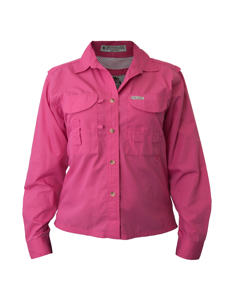 Fh outfitters women 39 s fishing shirts in solid colors and for Girls fishing shirts