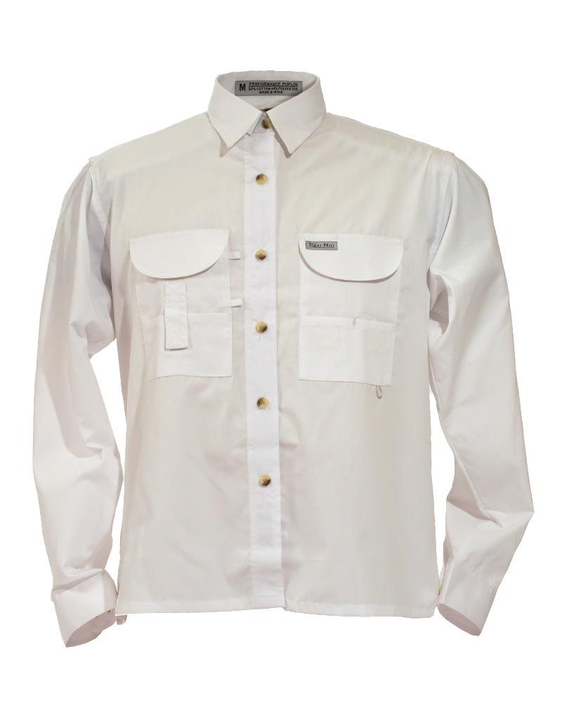 Fishing shirts women 39 s white fishing shirt fh outfitters for Womens fishing shirt