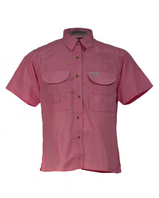 Women's Fishing Shirts, Pink Gingham fishing shirt, tiger hill fishing shirt