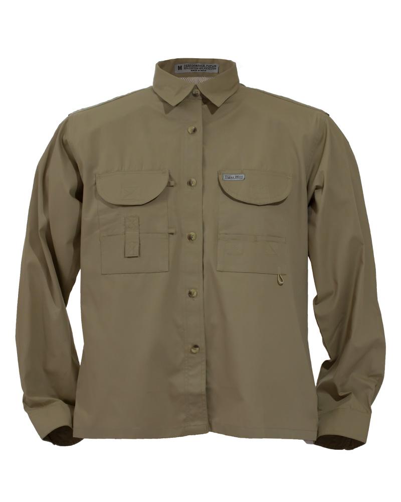 Fishing shirts women 39 s khaki fishing shirt fh outfitters for Womens fishing shirt