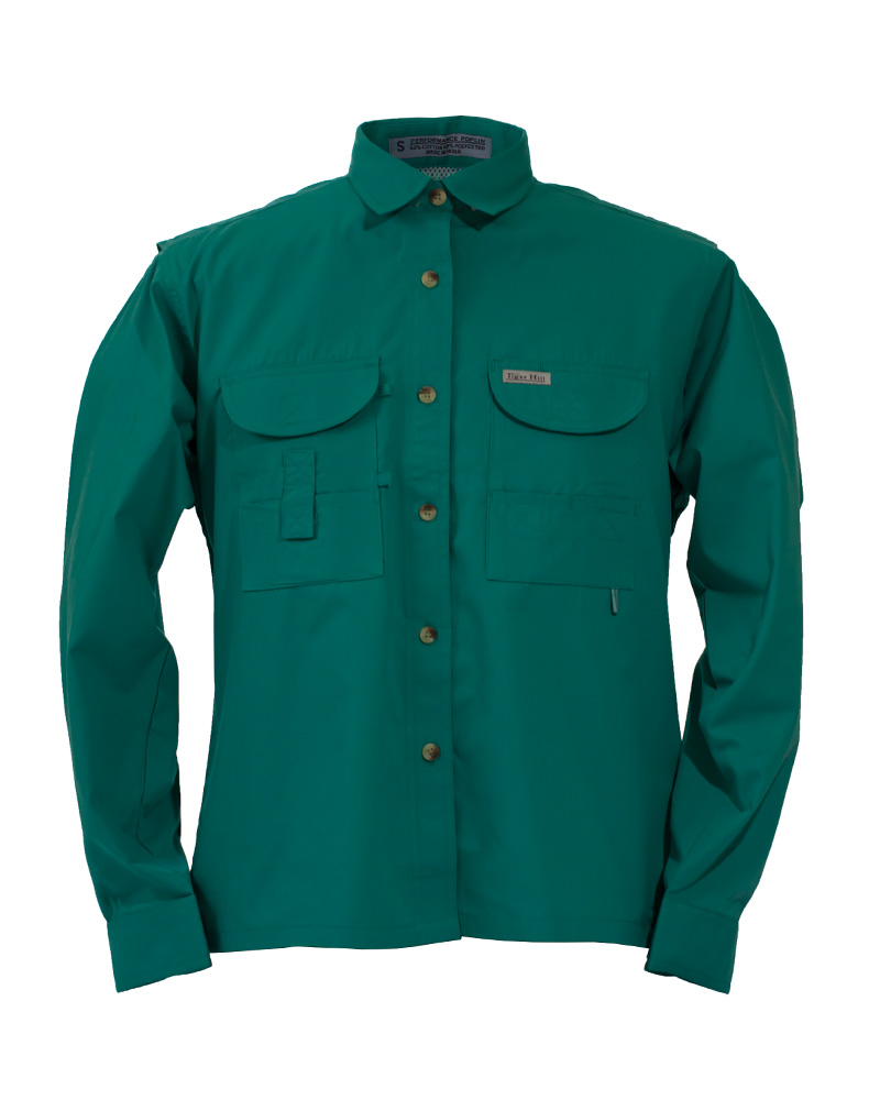 Fishing shirts women 39 s teal fishing shirt fh outfitters for Womens fishing shirt