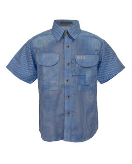 Kid's Fishing Shirt, Blue gingham fishing shirt, Tiger Hill Fishing Shirt
