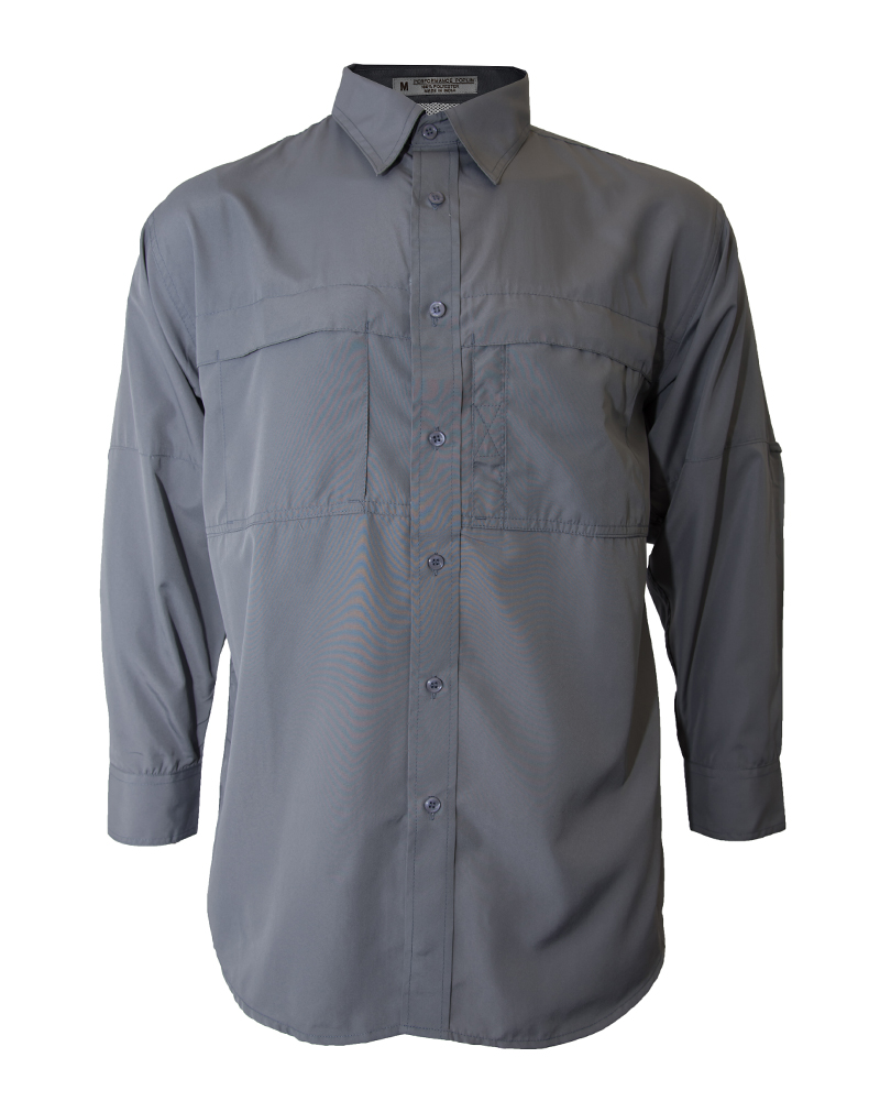 Fishing shirt in grey polyester men 39 s fh outfitters for Polyester fishing shirts