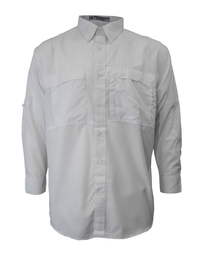 Fishing shirt in white polyester men 39 s fh outfitters for Polyester fishing shirts