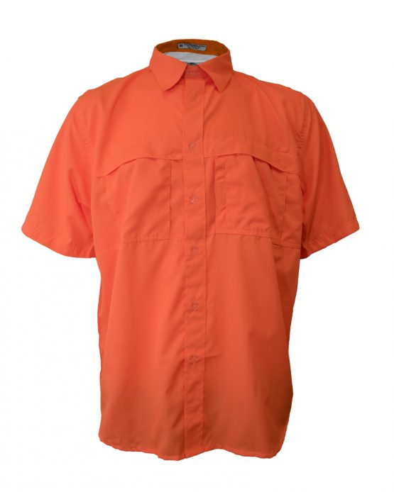 Men's Polyester fishing shirt, Bright Orange Fishing Shirt, Tiger Hill Fishing Shirt