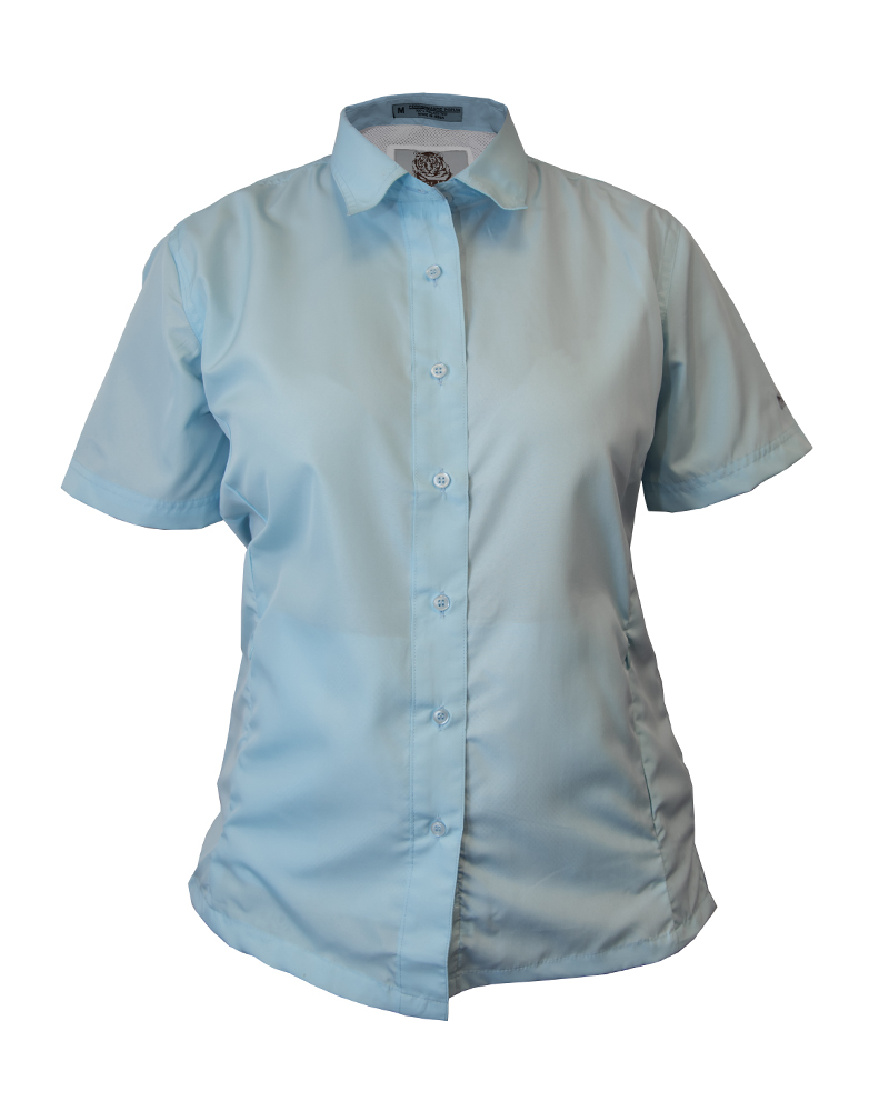 Fishing shirt in sky blue polyester women 39 s fh outfitters for Polyester fishing shirts