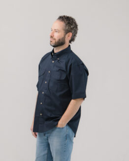 Vented Back Twill Shirt Short Sleeves