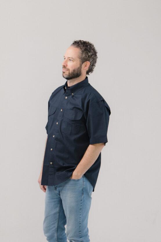 Vented Back Twill Shirt Short Sleeves