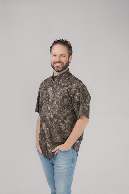 Camo Twill Button Down Shirt Short Sleeves