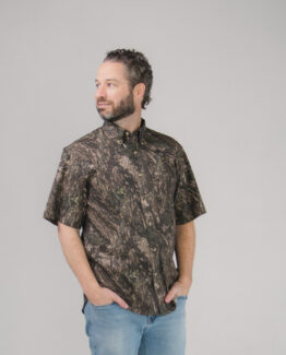 Camo Twill Button Down Shirt Short Sleeves