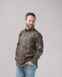 Camo Twill Button Down Shirt Long Sleeves