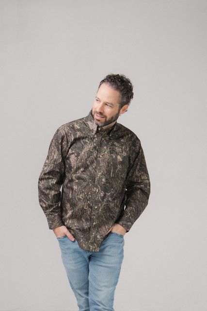 Camo Twill Button Down Shirt Long Sleeves