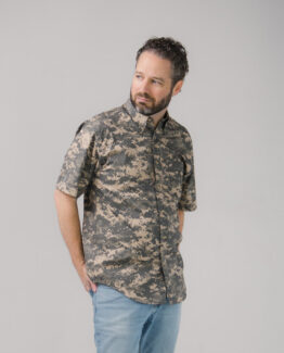 Digital Camo Twill Button Down Shirt Short Sleeves