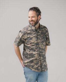 Digital Camo Twill Button Down Shirt Short Sleeves