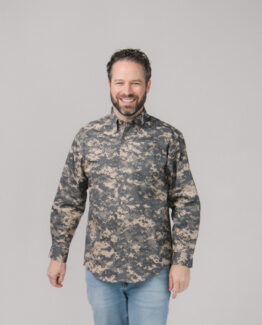 Digital Camo Twill Button Down Shirt Long Sleeves