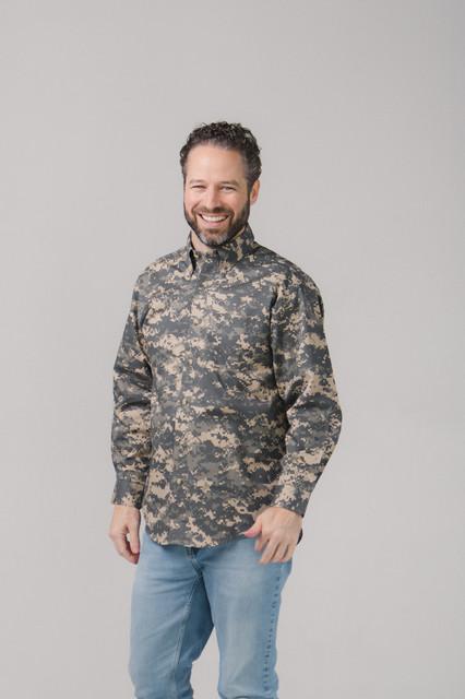 Digital Camo Twill Button Down Shirt Long Sleeves